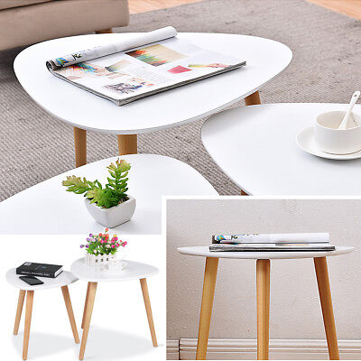 Modern Side Table Coffee Table Nest of Tables Retro Bedside Display Oak Metal