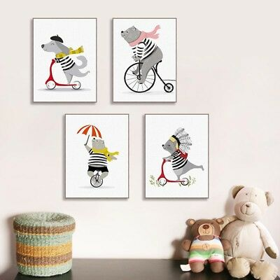 Cute Bike Animals Bear Dog Poster Print Kids Room Decor Wall Art Canvas Painting