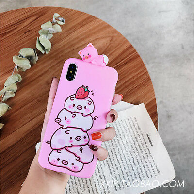 For iPhone XS 6 7 8 Plus 3D Pink Style Funny Cute Cartoon Pig Doll Silicone Case
