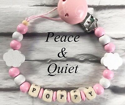 Personalised Dummy Clip💗Wooden💗Dummy Chain ☁️ Cloud ☁️💗pink ☁️girl💗gift #WWW