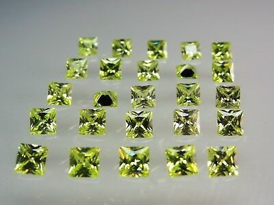 Lemon Peridot Square Princess Cut Stones SIZE CHOICE CZ Loose Gemstones