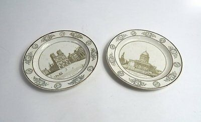 Pair of French Antique Plates Paris Theme c. 1810