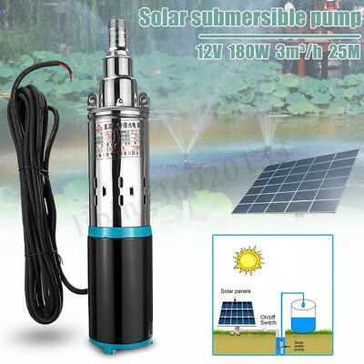 180W DC 12V 3m³/h Solar Water Pump Submersible Bore Hole Pond Deep Well Pump New