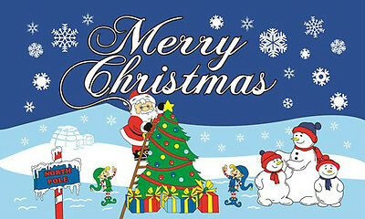 SANTA AT THE NORTH POLE FLAG 5' x 3' Merry Happy Xmas Father Christmas Party