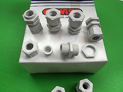 Cable Gland PG9 Glands IP66 5 - 8 mm Nylon Grey + Nuts GW52002 x 10sets