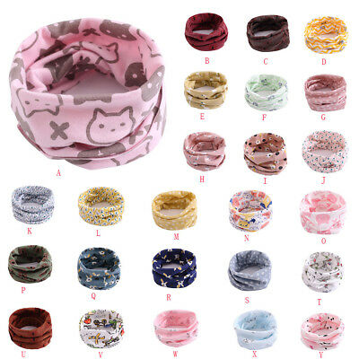 Toddler Girls Boy Scarf Pattern Stitching O-ring Baby Kids Scarf Neck Warmer AB
