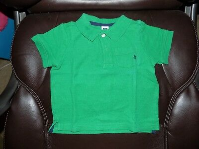 JANIE AND JACK Short Sleeve Polo Shirt Bright Green Size 12/18 Months Boy's EUC