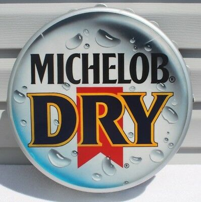 Vintage Michelob Dry Plastic Bottle Cap Beer Sign 1988