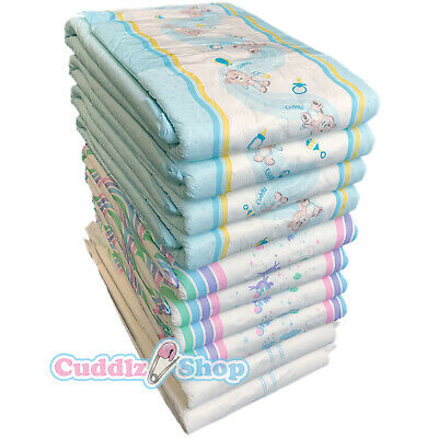 Cuddlz Sample Pack of 7 Adult Incontinence Nappies Diapers Patterned and White