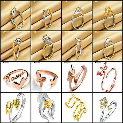 18k Gold / Platinum Plated 925 Silver Plt Animal Open Adjustable Band Rings Lady