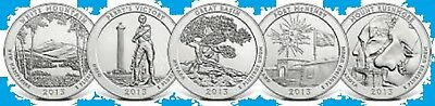 2013 5 National Park ATB America the Beautiful QUARTER PD Mix SET  ~ 5 Unc 2nd's
