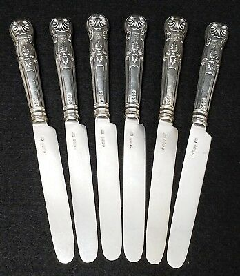 6 Antique 1788 English Sterling Silver London Armorial Knives Kings Pattern
