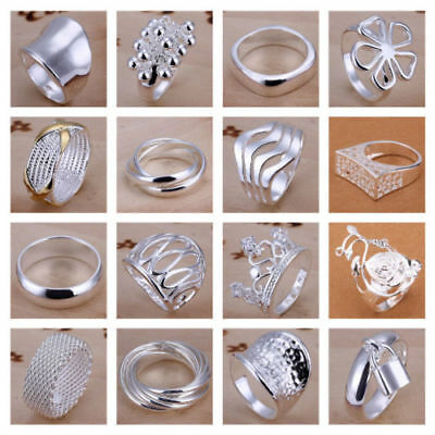 925 Silver Plated Gift Ladies Adjustable Open Band Thumb Statement Finger Rings
