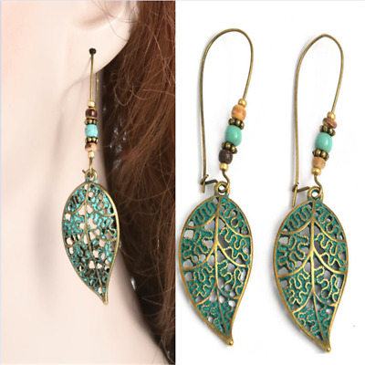 Vintage Looking Hollow Leaf Painted Turquoise Antique Brass Boho Earrings New