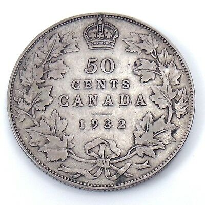 1932 Canada Fifty 50 Cents Silver Half Dollar Canadian Coin H371