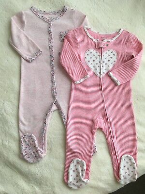 c0dd47e88cfd CARTERS BABY GIRL Lot of 2 Sleepers 9 Months Pajamas Ones Thermal ...