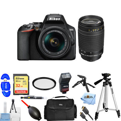 Nikon D3500 24.2MP DSLR Camera with 18-55mm + 70-300mm Lenses PRO BUNDLE NEW