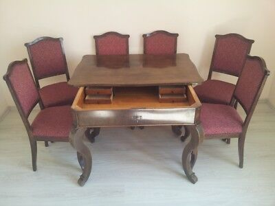 Antique Hungarian dining set (table with 6 chairs)