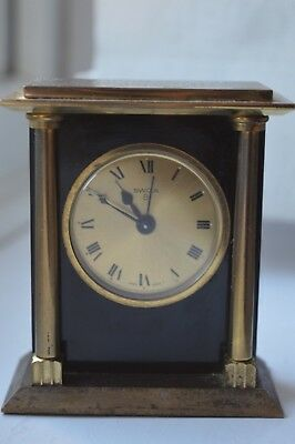 Vintage SWIZA Brass 8 Day Column Travelling Alarm Clock Swiss Made