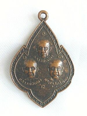 Pendant 3 Lp monk Thai reputation Phra Talisman Amulet Yant Protection Life
