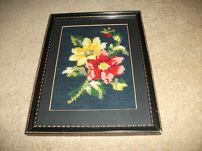 Beautiful  Vintage Black/gilt And Glass Framed Tapestry Of Flowers   20 X 27 Cms