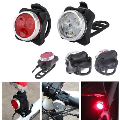 USB Rechargeable Mountain Bike Outdoor Cycling LED Headlight+Taillight Light Set