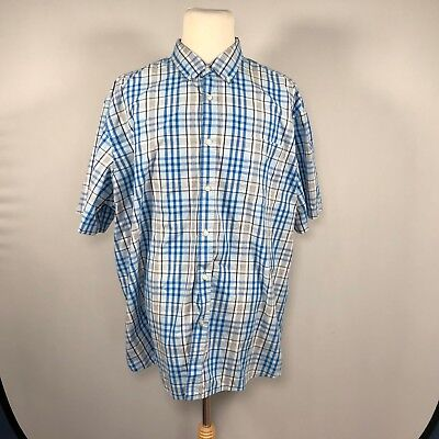 57d242b0cb76 Basic Editions Men Short Sleeve Button Down Shirt Size 3XL Plaid Top Casual  D78