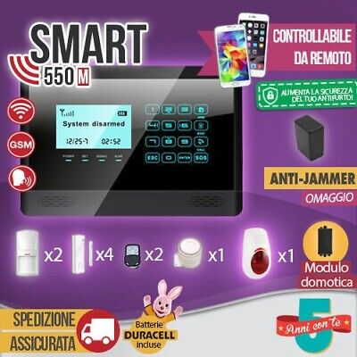 Kit Antifurto Casa Allarme Touch Screen Combinatore Gsm / App Wireless Smart550M