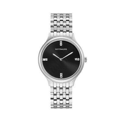 Wittnauer Women's WN4097 Quartz Diamond Accent Black Dial Silver-Tone 36mm Watch