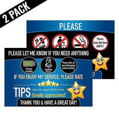 Rideshare Driver Signs Rating Tips Accessories Large 9x6 14 mil Paper Tear Proof