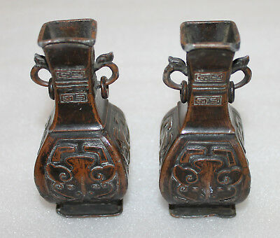 A Pair of C16th Chinese Ming Dynasty Bronze Archaic Baluster vases + ear rings