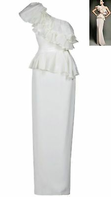 $2000 New Marchesa Notte Stunning Exclusive. Wht Silk Gown Or Wedding Dress 0
