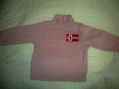 Gymboree*Fleece*Pullover*Boys XS (4) Beige with Red Norway Flag