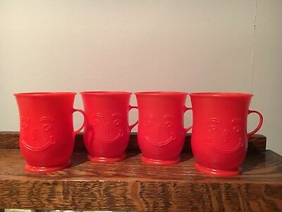 4 Vtg Red KOOL-AID Mugs Plastic Handled Cups Smiling Face Footed Drinking