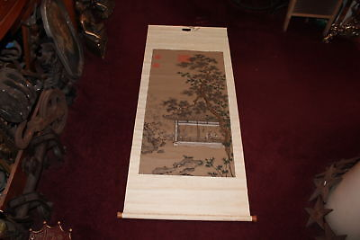 Antique Chinese Tapestry Scroll-Handpainted Trees Village House People-Signed