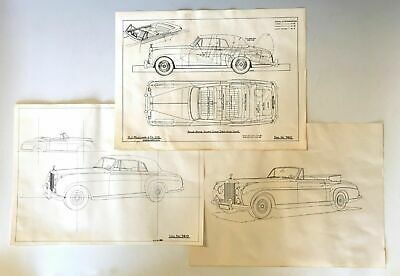 Three Rolls Royce Silver Cloud Drop head Coupe factory blueprints - 1955 - 1957