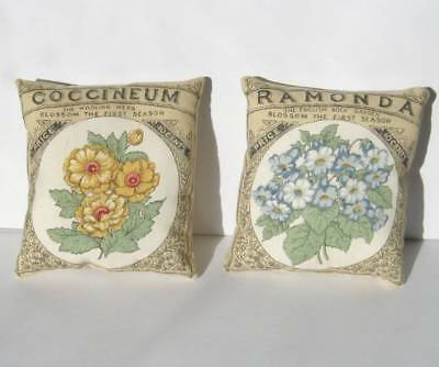 Set of 2 Ornies Flower Seed Pack Mini Pillow Painted Daisy  African Violet Tucks