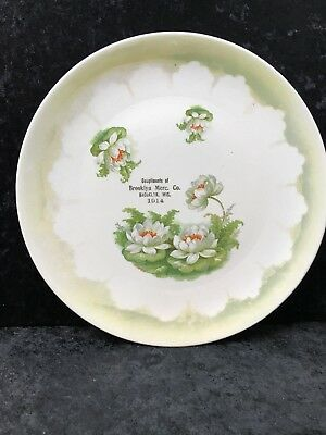 Antique 1914 Brooklyn Merc Co Brooklyn, Wisconsin Advertising Collector Plate