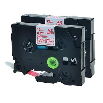TZ232 TZe-232 Red on White Tape Label Compatible Brother P-Touch 12mmx26.2ft 2PK