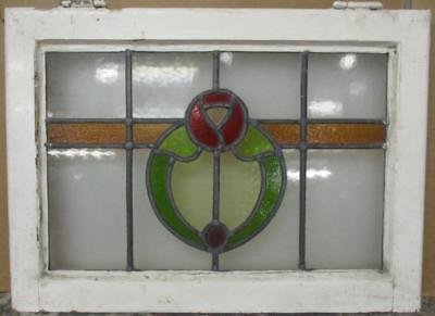 "MID SIZED OLD ENGLISH LEADED STAINED GLASS WINDOW Nice Floral Band 24"" x 17.25"""