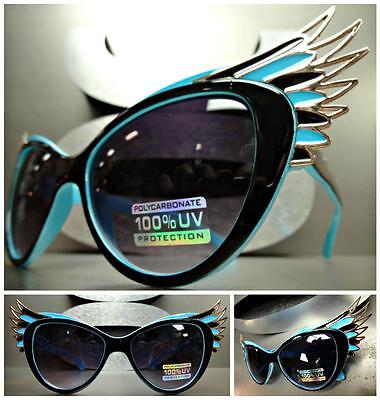 UNIQUE VINTAGE EXAGGERATED CAT EYE WINGS Style SUN GLASSES Black Blue Gold Frame