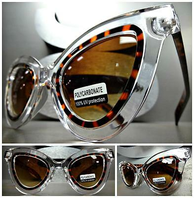 EXAGGERATED VINTAGE RETRO CAT EYE Style SUN GLASSES Tortoise & Transparent Frame