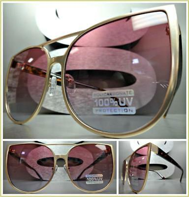 OVERSIZED EXAGGERATED CAT EYE Style SUN GLASSES Rose Gold Frame Pink & Blue Lens