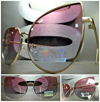 EXAGGERATED VINTAGE RETRO CAT EYE Style SUN GLASSES Gold Frame Pink & Blue Lens