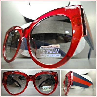 Oversized Exaggerated Vintage Retro Cat Eye Style SUN GLASSES L Thick Red Frame