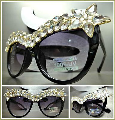 OVERSIZED RETRO CAT EYE Style SUN GLASSES Exaggerated Frame Sparkling Crystals