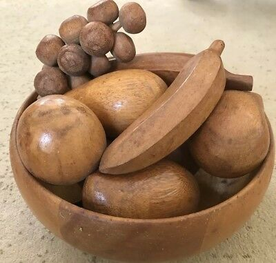 Vintage 11 Pc. Wooden Fruit In Round Wooden Bowl