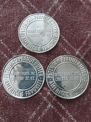 Vintage Lot Of 3 Peter Pan Tokens Derby Foods Chicago Ill Americas Favorite