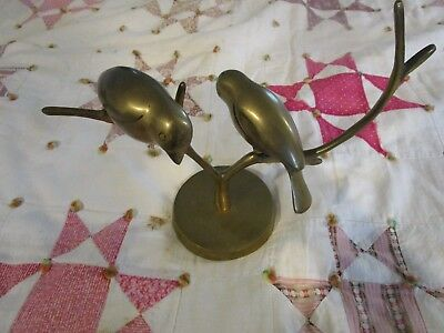 Vintage Solid Brass Pair of Birds on a Tree Branch Sculpture