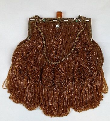ANTIQUE Victorian Era Amber Glass Beaded Purse w/Brass Chain, Turquoise 10.5""
